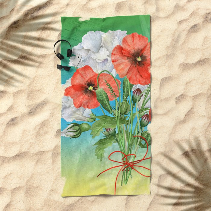 Flowers bouquet #24 Beach Towel