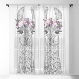 FLOWER GIRL ALPACA Sheer Curtain