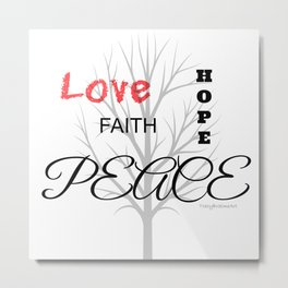 Inspirational Love Tree - White Metal Print