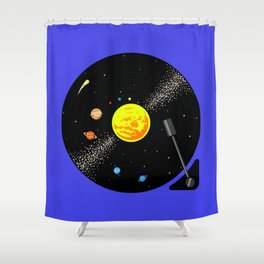Solar System Vinyl Record Shower Curtain