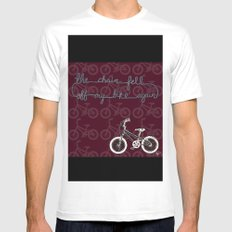 The chain fell off my bike White Mens Fitted Tee MEDIUM
