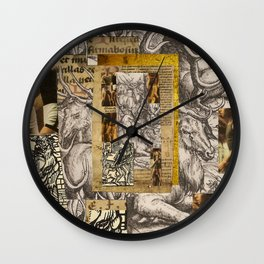 Medieval collage, Durer, Boys, Performance, Devil, Gold, Woodcut Wall Clock