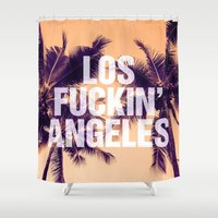 los angeles Shower Curtains featuring Los Angeles by Text Guy
