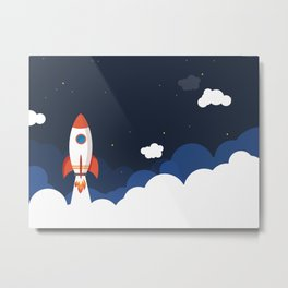 Rocket Launch Night Space Metal Print