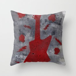 The Red Guitar Throw Pillow