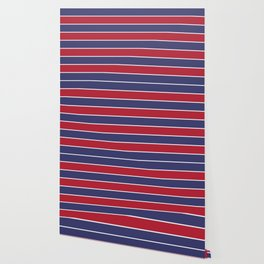 Large Red White and Blue USA Memorial Day Holiday Horizontal Cabana Stripes Wallpaper