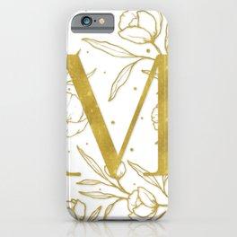 Letter M Gold Monogram / Initial Botanical Illustration iPhone Case