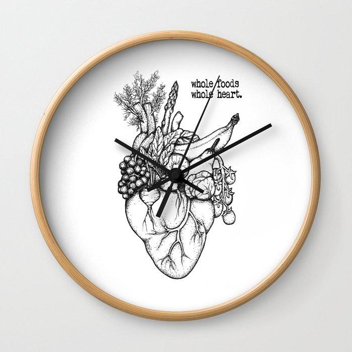 Whole foods, whole heart Wall Clock