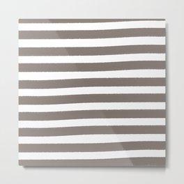 Brushy Stripes - Brown Metal Print