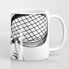 Two Apes Run with Giant Tennis Racquet Coffee Mug