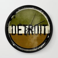 detroit Wall Clocks featuring detroit by Marshflowers