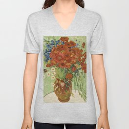 """Vincent van Gogh """"Still Life, Vase with Daisies, and Poppies"""" Unisex V-Neck"""