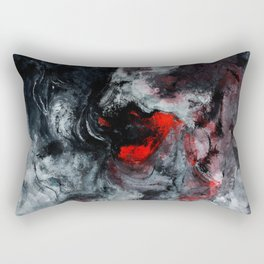 Red and Black Minimalist Abstract Painting Rectangular Pillow