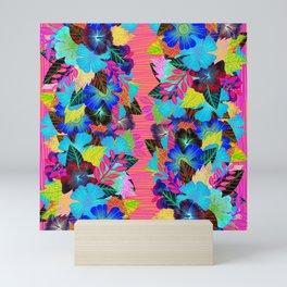 Neon Tiki Tropical Flowers Mini Art Print