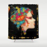 glitch Shower Curtains featuring Glitch by Steve W Schwartz Art