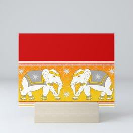White Elephants Royal Drape Mini Art Print