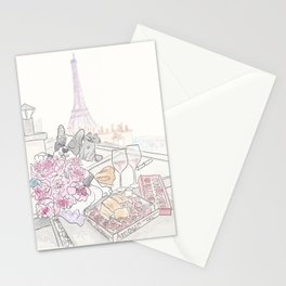 Paris Rooftop Picnic with French Bulldog and Black Cat Stationery Cards