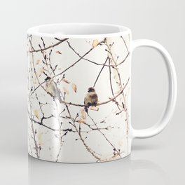 House Sparrows in Tree Branches Stylized Minimalist Nature Coffee Mug