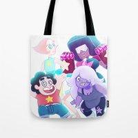enerjax Tote Bags featuring Steven Universe - We are the Crystal Gems by enerjax