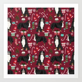 Bernese Mountain Dog christmas dog breed gifts mittens stockings presents candy canes Art Print