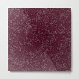 Chic burgundy silver glitter elegant flowers pattern Metal Print