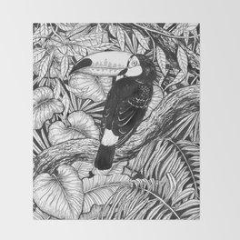 Toucan tropical garden Throw Blanket