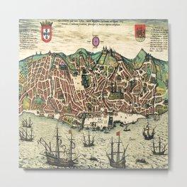 Lisbon map Metal Print