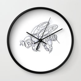 Honey Bee Line Drawing Wall Clock