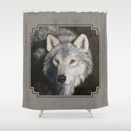 Gray Wolf Face Shower Curtain