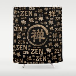 Enzo Circle Zen symbol and word pattern on black Shower Curtain