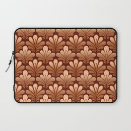 Art Deco Shell Pattern, Copper and Chocolate Brown Laptop Sleeve