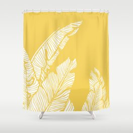 Banana Leaves on Yellow #society6 #decor #buyart Shower Curtain