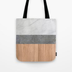 Carrara Marble, Concrete, and Teak Wood Abstract Tote Bag