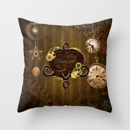 Awesome steampunk design with clocks and gears Throw Pillow