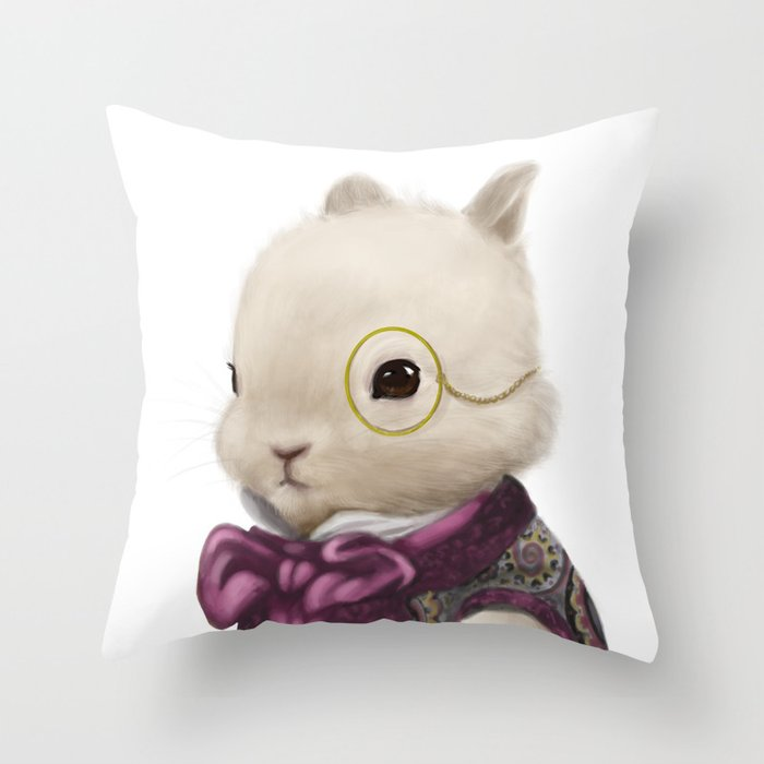 Dapper Bunny with Monocle Throw Pillow