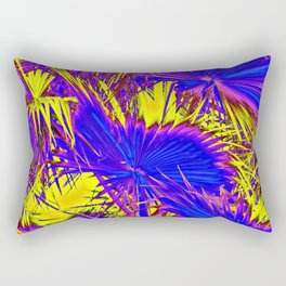 closeup palm leaf texture abstract background in blue pink and yellow Rectangular Pillow