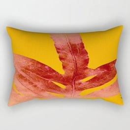 Green Fern on Red On Fire Rectangular Pillow