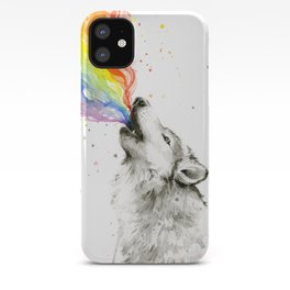 Wolf Howling Rainbow Watercolor iPhone Case