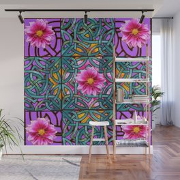 Lilac & Aqua Fuchsia Dahlias Inter-twining Art Nouveau Wall Mural