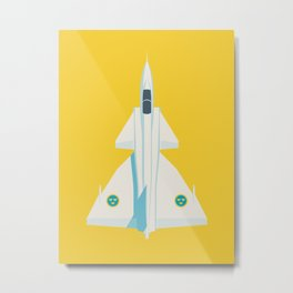 Saab 37 Viggen Swedish Air Force Fighter Jet Aircraft - Yellow Metal Print