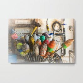 Colorful Fishing Floaters in a Barrel Metal Print