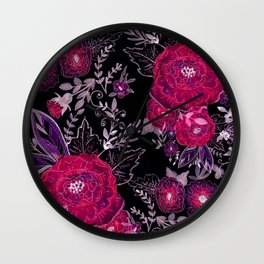 Pink roses on black background . Wall Clock
