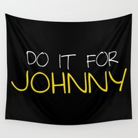 johnny depp Wall Tapestries featuring Johnny by bitobots