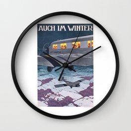 1930 Lufthansa Airline German Travel Poster Wall Clock