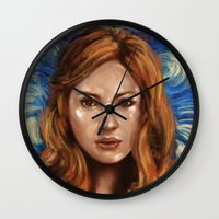 amy pond Wall Clocks featuring Amy Pond Vincent van Gogh Doctor Who by SachsIllustration