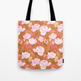 Pink roses on umber Tote Bag