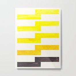 Yellow Geometric Minimalist Watercolor Geometric MInimalist Mid Century Modern Lightning Bolt Patter Metal Print