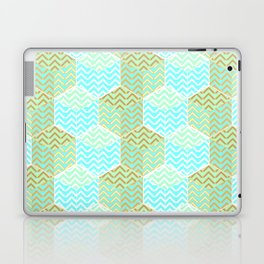 Cubes in teal and golden chevron Laptop & iPad Skin