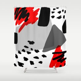 Red, White and Black Shower Curtain