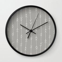 Grey, Fog: Arrows Pattern Wall Clock